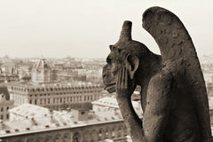 Notre Dame,Paris. Gargoyle on the roof of Notre-Dame,Paris Cathedral Royalty Free Stock Photos