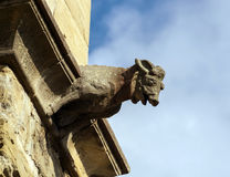 Gargoyle sculture on medieval cathedral. Mirepoix. Royalty Free Stock Images