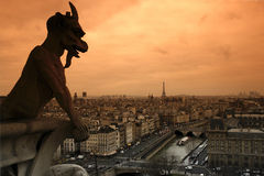 gargoyle and seine river in paris Stock Photo
