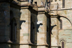 Gargoyle shadows on Nidaros Cathedral in Trondheim Stock Photography