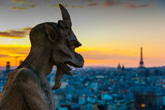 Gargoyle Staring over Paris Stock Photography