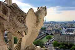 Gargoyle sulla cattedrale del Notre Dame Fotografie Stock Libere da Diritti
