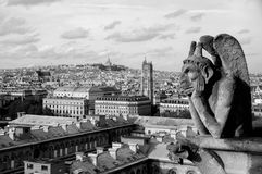 Gargoyle on the top of Notre Dame de Paris Royalty Free Stock Images