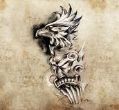 Gargoyle and totem, Tattoo art, hadmade Stock Photos