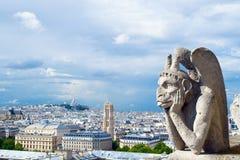 Gargoylen av Notre Dame ser till Paris Royaltyfria Bilder