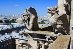 Gargoyles av Notre Dame de Paris Fotografering för Bildbyråer
