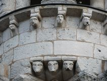 Gargoyles on a cathedral. Gargoyles on the exterior of the cathedral in Poitiers France Royalty Free Stock Photography