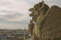 Gargoyles che guardano su Parigi Immagini Stock