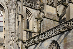 Gargoyles decorate the facade of Notre-Dame cathedral in Argentan (France) Stock Photo