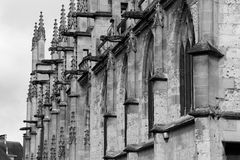 Gargoyles decorate the facade of Saint-Jacques church in Lisieux (France). Gargoyles decorate the facade of Saint-Jacques church in Lisieux, France, on June 29 royalty free stock image