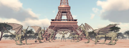 Gargoyles and Eiffel Tower. Computer generated 3D illustration with Gargoyles in front of the Eiffel Tower Stock Photos