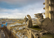 Gargoyles of Notre Dame over Paris Stock Images
