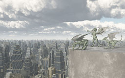 Gargoyles over a big city. Computer generated 3D illustration with Gargoyles over a big city Stock Photography