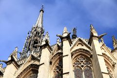 The Sainte-Chapelle is a royal chapel in the Gothic style of Paris. Gargoyles and sculptures in the façade of the Sainte-Chapelle, in the Cite Island in stock images