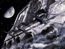 Gargoyles under the moon Royalty Free Stock Image