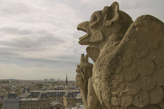 Gargoyles watching on Paris Stock Images