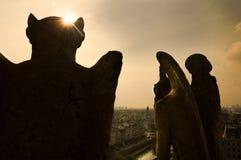 Gargulece patrzeje nad Paryż zdjęcia royalty free
