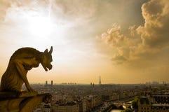 Gargulece patrzeje nad Paryż Fotografia Stock