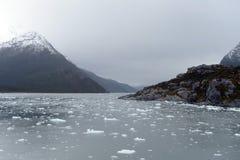 Garibaldi fjord w archipelagu Tierra Del Fuego obraz stock