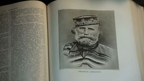 Garibaldi the hero of Italy. Portrait iin the page of the Great Encyclopedia 1952