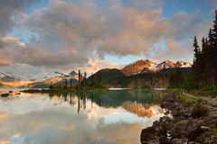 Garibaldi Lake and Price Mountain Sunset Royalty Free Stock Photo