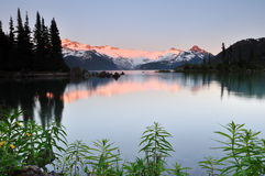 Garibaldi Lake at sunset Stock Photos