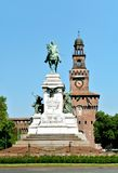 Garibaldi monument. Statue of Garibaldi in front of the Castelo Sforzesco Castle in Milan, Italy Royalty Free Stock Photography