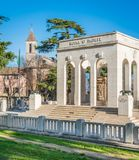The Garibaldi Ossuary Mausoleum on the Janiculum hill in Rome, Italy. The Garibaldi Ossuary Mausoleum is on the Janiculum hill in the small suburb known as Royalty Free Stock Photo