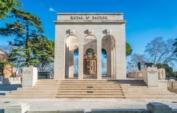 The Garibaldi Ossuary Mausoleum on the Janiculum hill in Rome, Italy. The Garibaldi Ossuary Mausoleum is on the Janiculum hill in the small suburb known as Royalty Free Stock Images