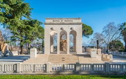 The Garibaldi Ossuary Mausoleum on the Janiculum hill in Rome, Italy. The Garibaldi Ossuary Mausoleum is on the Janiculum hill in the small suburb known as Royalty Free Stock Photography