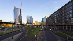 Garibaldi Porta Nuova a famous business center of Milan - timelapse 4k. The UniCredit Tower is a skyscraper in Milan, Italy. At 231 metres (758 ft), it is the stock video