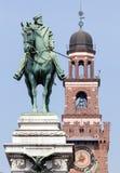 Garibaldi's statue in Milan before Castello Sforzesco Stock Image
