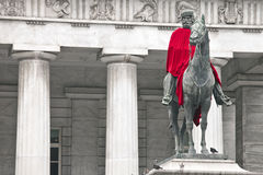Garibaldi's statue with a red cape stock photo