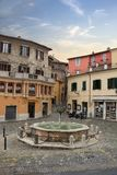 Garibaldi square in the medieval historic town Narni, Italy. Garibaldi square, medieval buildings and fountain in the historic town Narni. Terni, Umbria, Italy royalty free stock photography