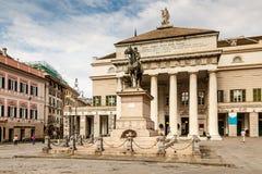 Garibaldi Statue and Opera Theater in Genoa Stock Photos