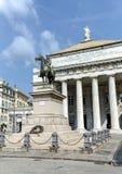 Garibaldi Statue and Opera Theater in Genoa, Italy Royalty Free Stock Photos