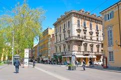 Garibaldi Street en Parma Foto de archivo libre de regalías