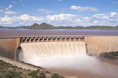Gariep Dam with floodgates overflowing Royalty Free Stock Images