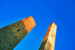 Garisenda and Asinelli leaning towers. Italy Royalty Free Stock Photography