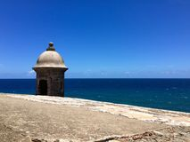 Garita in Old San Juan. Sentry Box at a wall in old San Juan Puerto Rico royalty free stock photo