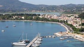 Garitsa bay and airport Corfu town stock video footage