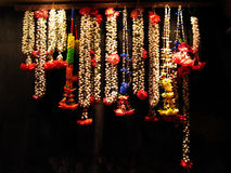 Garland. Indian Garlands hanging against a dark background royalty free stock photo