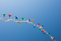 Garland. On a blue sky (blurred background stock photos