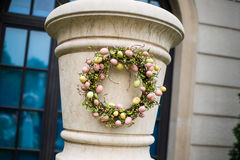 Garland. Wreaths decorated in marble pillars Royalty Free Stock Images