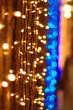 Garland. Of small yellow and blue light royalty free stock images
