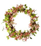 Garland. Christmas garland with pastel pink flowers Stock Photo