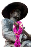 Garland of Amaranthus on the sword statue of King Taksin. royalty free stock photos