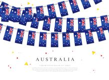 Garland of australian flags. Australia Day. Vector illustration. On white background. Elements for design stock illustration