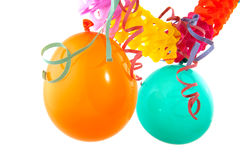 Garland with balloons. Colorful paper garland with balloons and party streamers royalty free stock photo