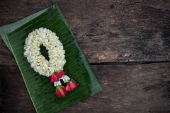 Garland on banana leaf Stock Photos